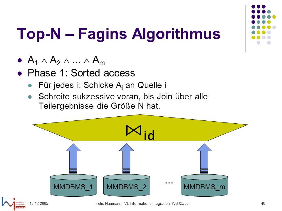 13.12.2005Felix Naumann, VL Informationsintegration, WS 05/0648 Top-N – Fagins Algorithmus A 1 A 2... A m Phase 1: Sorted access Für jedes i: Schicke