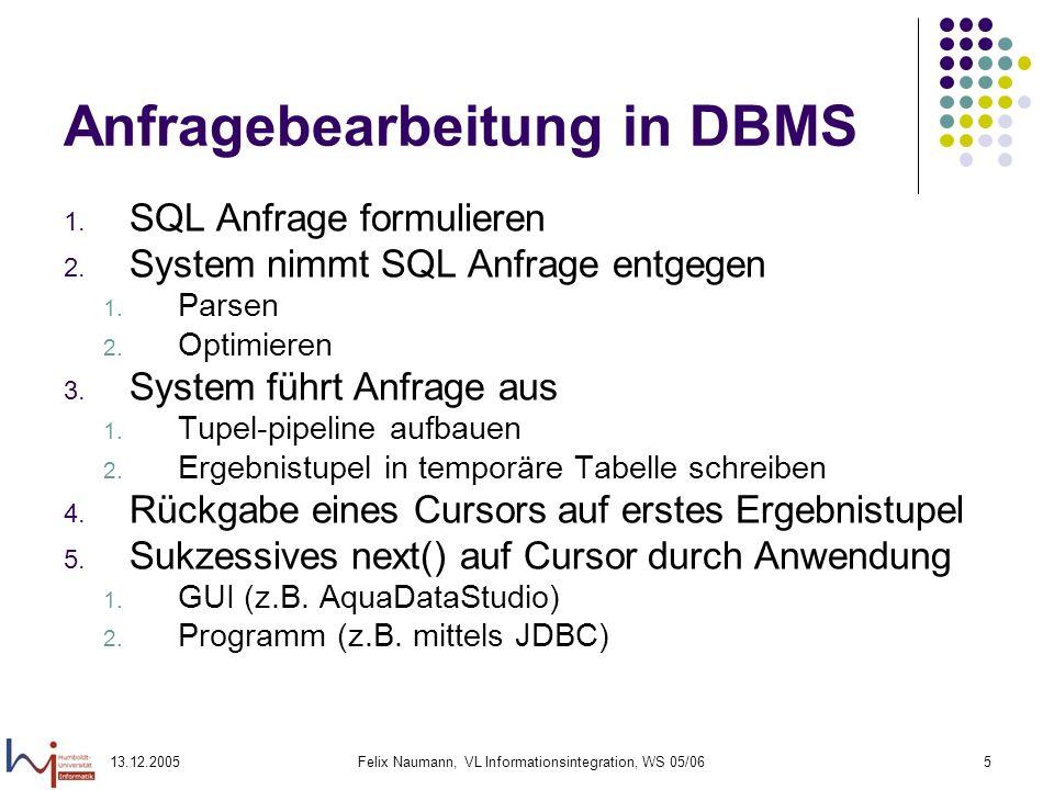 13.12.2005Felix Naumann, VL Informationsintegration, WS 05/065 Anfragebearbeitung in DBMS 1. SQL Anfrage formulieren 2. System nimmt SQL Anfrage entge