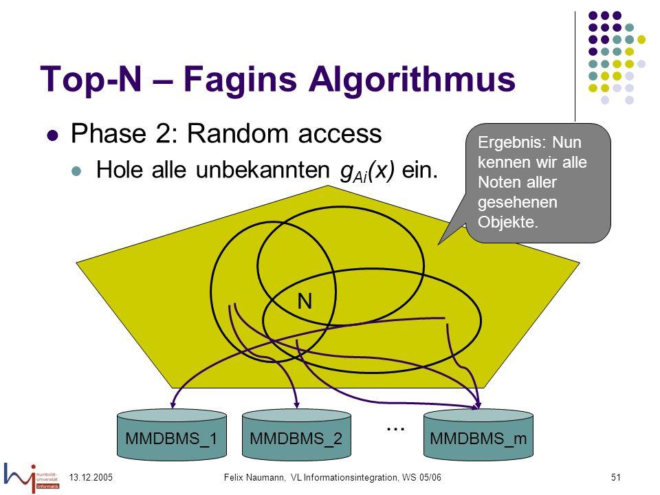 13.12.2005Felix Naumann, VL Informationsintegration, WS 05/0651 Top-N – Fagins Algorithmus Phase 2: Random access Hole alle unbekannten g Ai (x) ein.