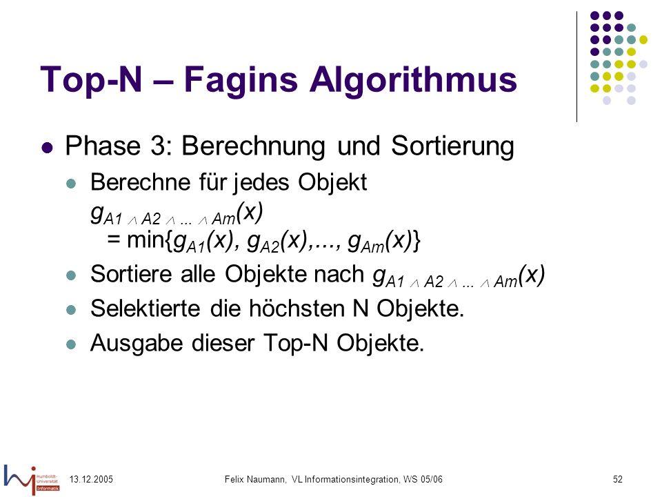 13.12.2005Felix Naumann, VL Informationsintegration, WS 05/0652 Top-N – Fagins Algorithmus Phase 3: Berechnung und Sortierung Berechne für jedes Objek