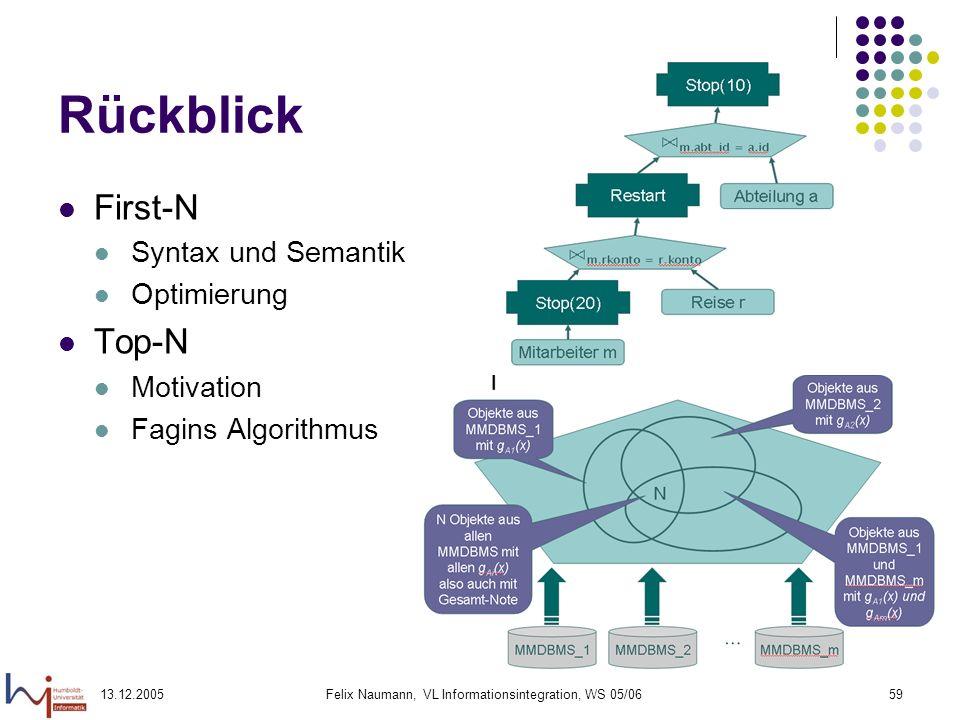 13.12.2005Felix Naumann, VL Informationsintegration, WS 05/0659 Rückblick First-N Syntax und Semantik Optimierung Top-N Motivation Fagins Algorithmus
