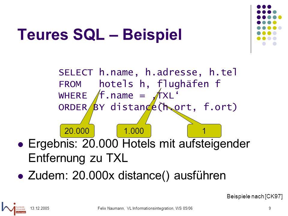 13.12.2005Felix Naumann, VL Informationsintegration, WS 05/069 20.000 1.000 1 Teures SQL – Beispiel Ergebnis: 20.000 Hotels mit aufsteigender Entfernu