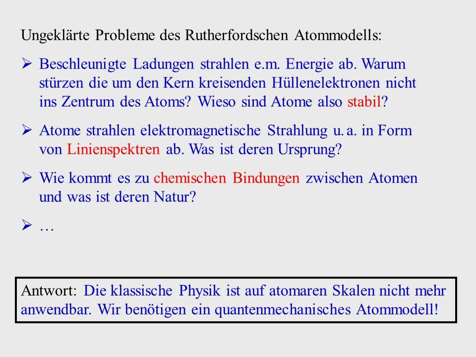 Ungeklärte Probleme des Rutherfordschen Atommodells: Beschleunigte Ladungen strahlen e.m.