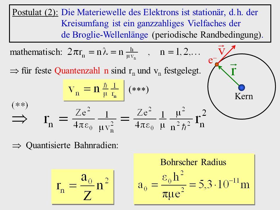 Postulat (2): Die Materiewelle des Elektrons ist stationär, d.