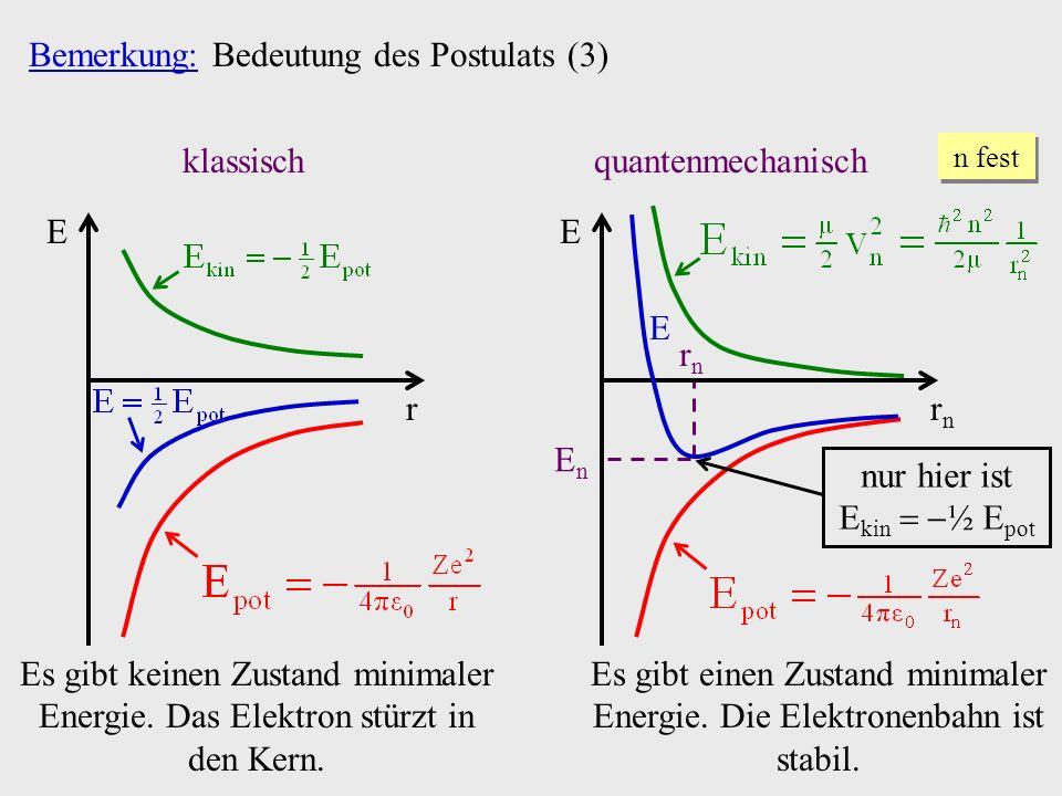 EnEn rnrn Bemerkung: Bedeutung des Postulats (3) klassisch E r Es gibt keinen Zustand minimaler Energie.