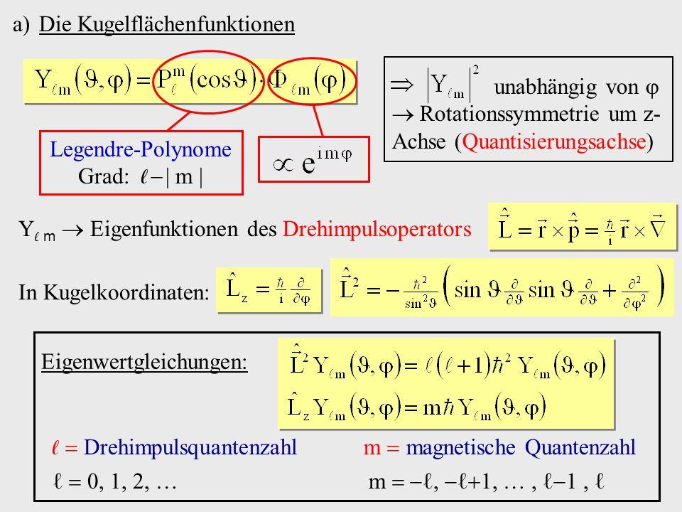 a)Die Kugelflächenfunktionen Legendre-Polynome Grad: m Y m Eigenfunktionen des Drehimpulsoperators In Kugelkoordinaten: Eigenwertgleichungen: Drehimpulsquantenzahl m magnetische Quantenzahl 0, 1, 2, m,,,, unabhängig von Rotationssymmetrie um z- Achse (Quantisierungsachse)