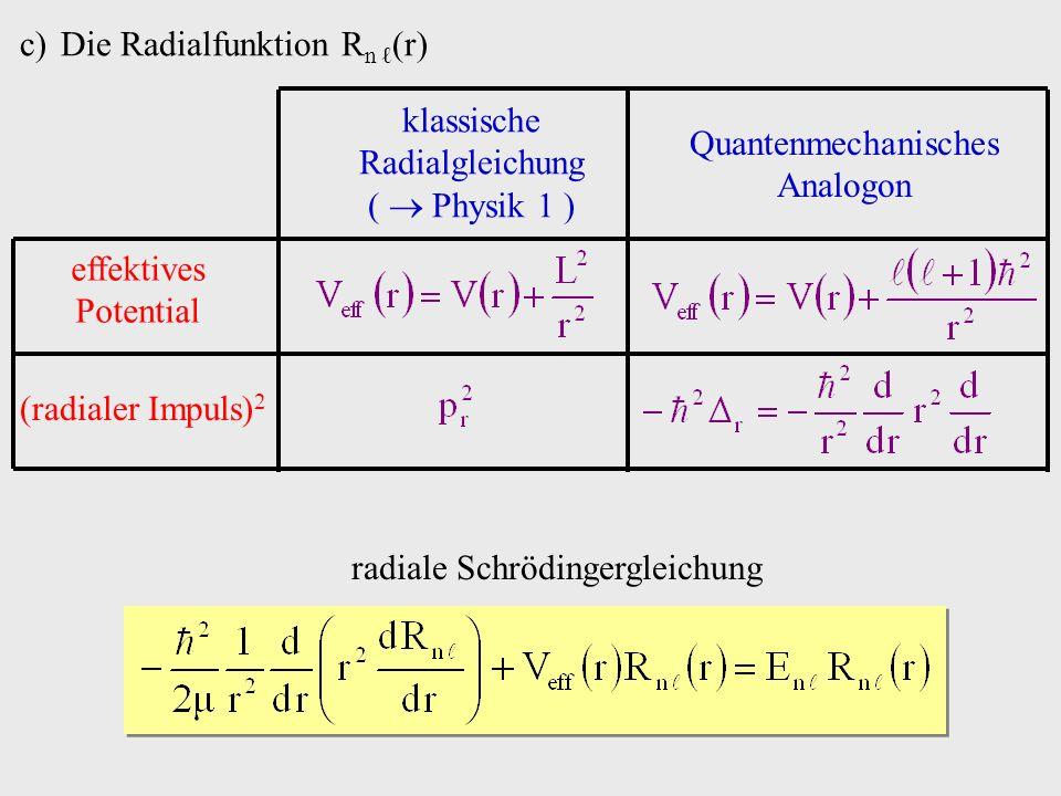 c)Die Radialfunktion R n (r) effektives Potential (radialer Impuls) 2 klassische Radialgleichung ( Physik 1 ) Quantenmechanisches Analogon radiale Schrödingergleichung