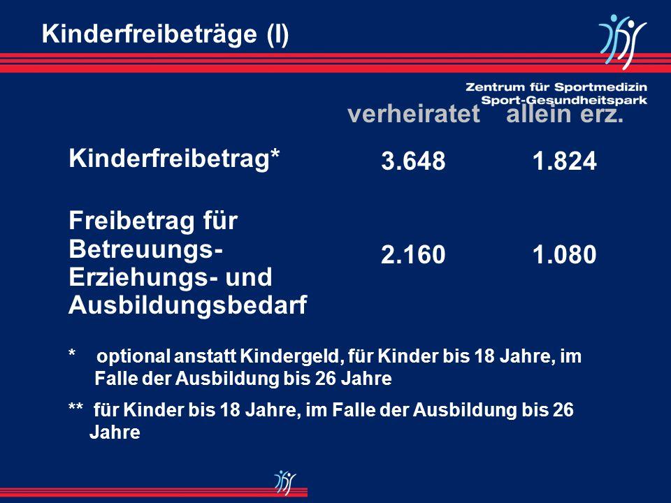 Kindergeld Kindergeld pro Monat 1. - 3. Kind 154,-- ab 4. Kind 179,-- Voraussetzung: Einkünfte < EUR 7.188,-- pro Jahr zzgl. Übungsleiterpauschale i.H