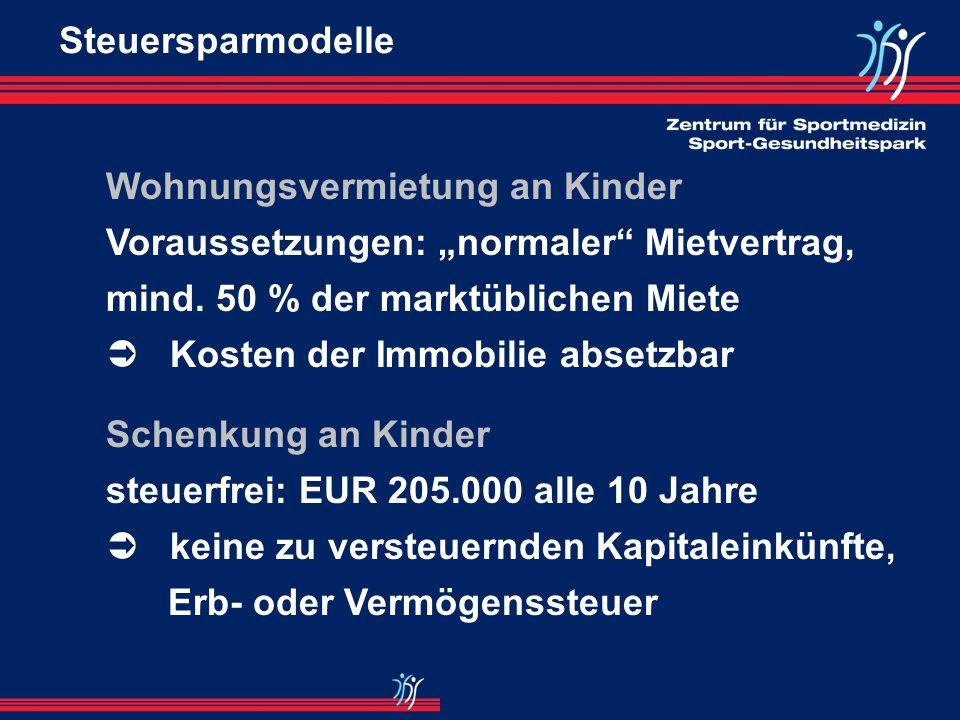 Betreuungskosten für Kindergarten, Babysitter, Haushaltshilfen: 1.500 EUR p.a. absetzbar Vorraussetzungen: - Kinder bis 14 Jahre - berufliche Tätigkei