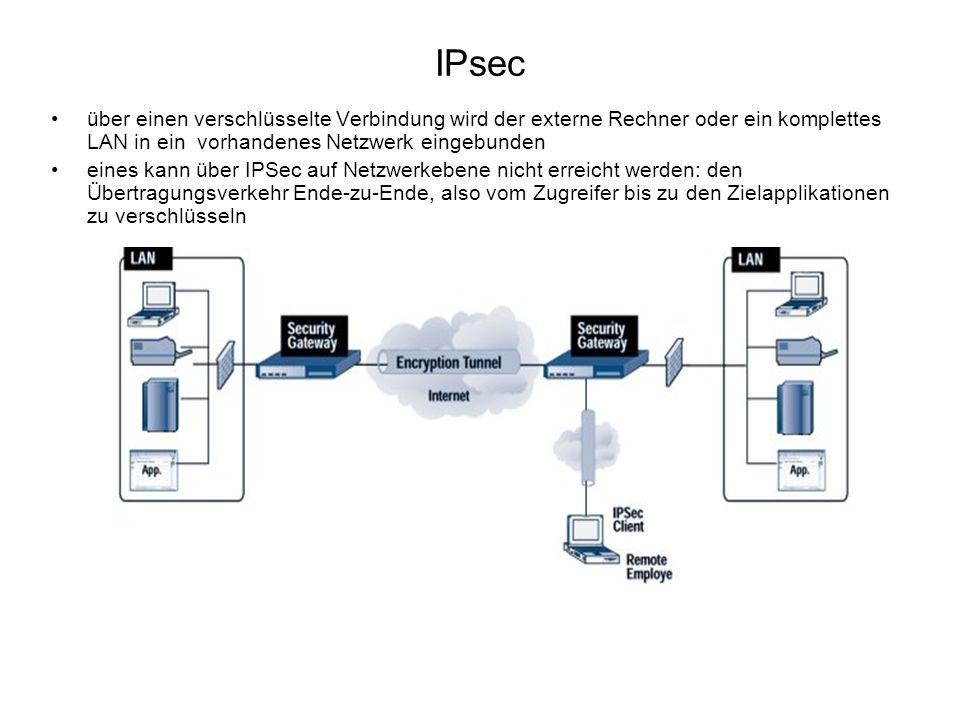 IPsec über einen verschlüsselte Verbindung wird der externe Rechner oder ein komplettes LAN in ein vorhandenes Netzwerk eingebunden eines kann über IP