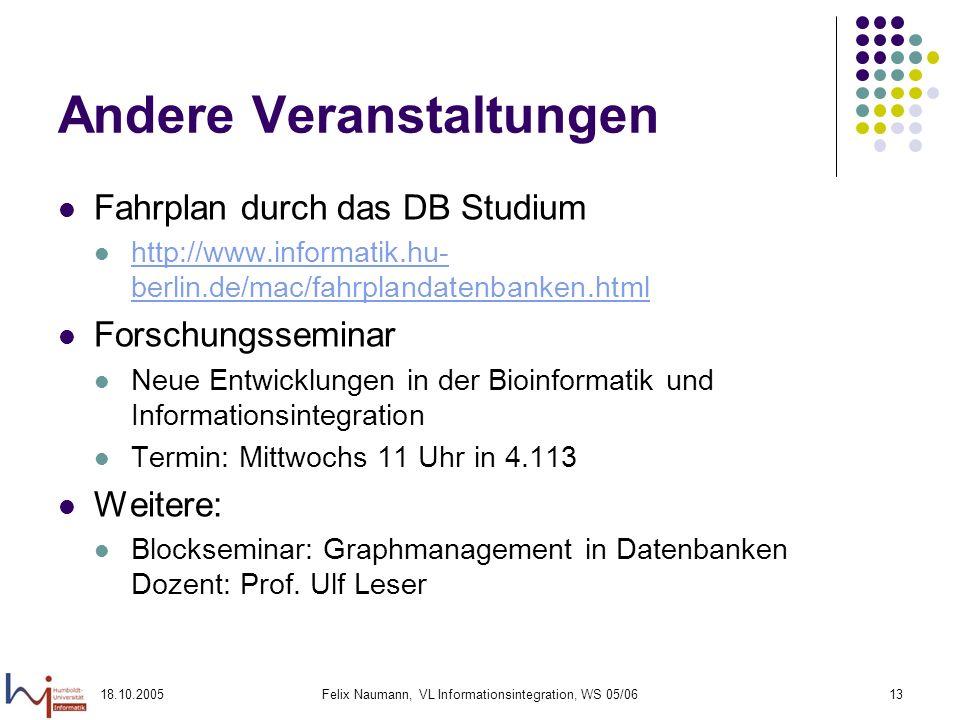 18.10.2005Felix Naumann, VL Informationsintegration, WS 05/0613 Andere Veranstaltungen Fahrplan durch das DB Studium http://www.informatik.hu- berlin.