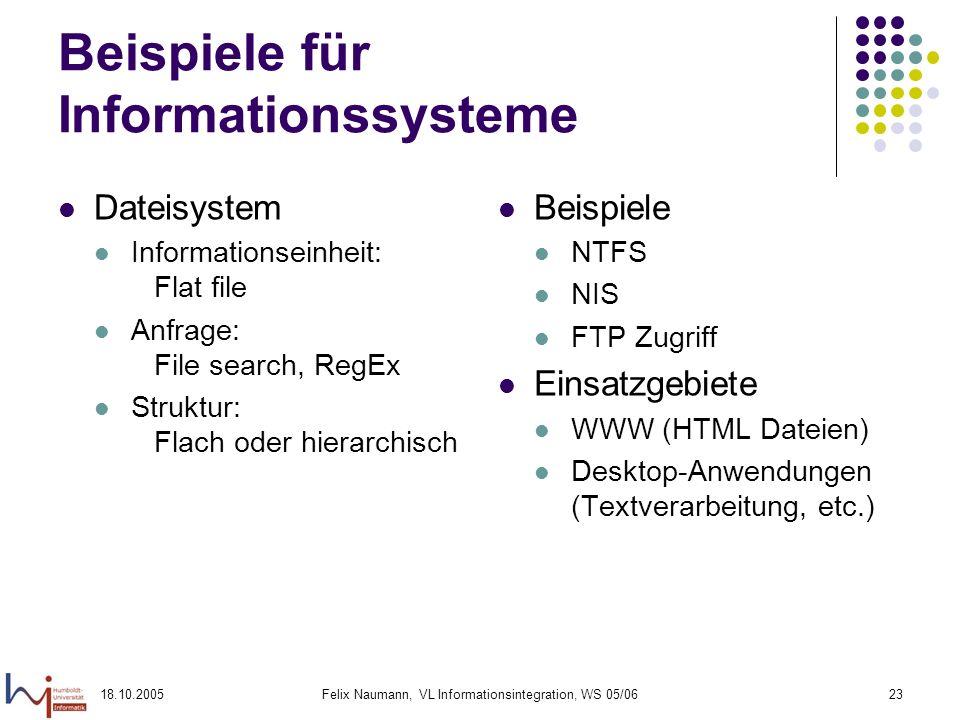 18.10.2005Felix Naumann, VL Informationsintegration, WS 05/0623 Beispiele für Informationssysteme Dateisystem Informationseinheit: Flat file Anfrage: