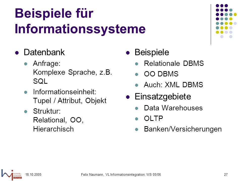 18.10.2005Felix Naumann, VL Informationsintegration, WS 05/0627 Beispiele für Informationssysteme Datenbank Anfrage: Komplexe Sprache, z.B. SQL Inform