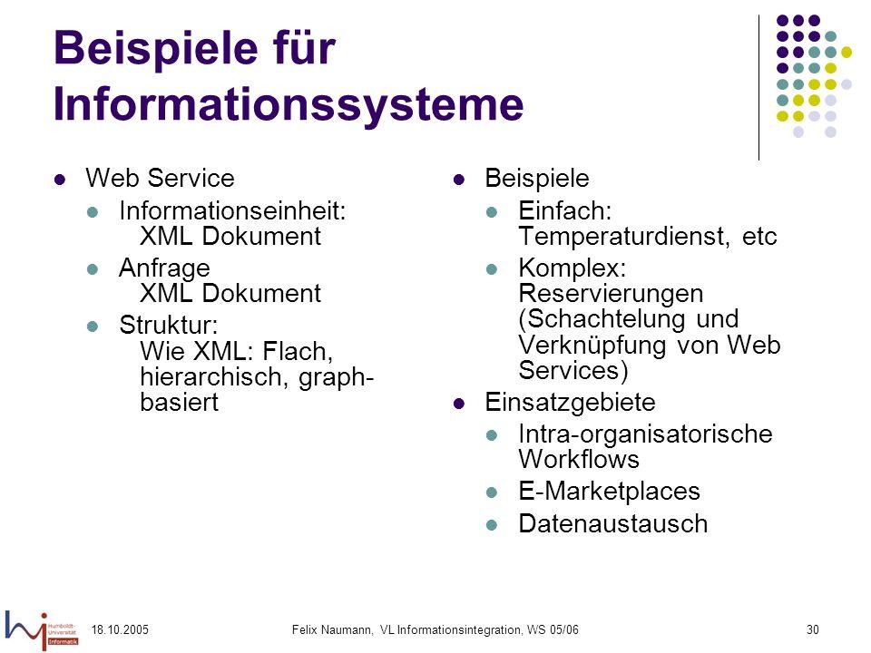 18.10.2005Felix Naumann, VL Informationsintegration, WS 05/0630 Beispiele für Informationssysteme Web Service Informationseinheit: XML Dokument Anfrag