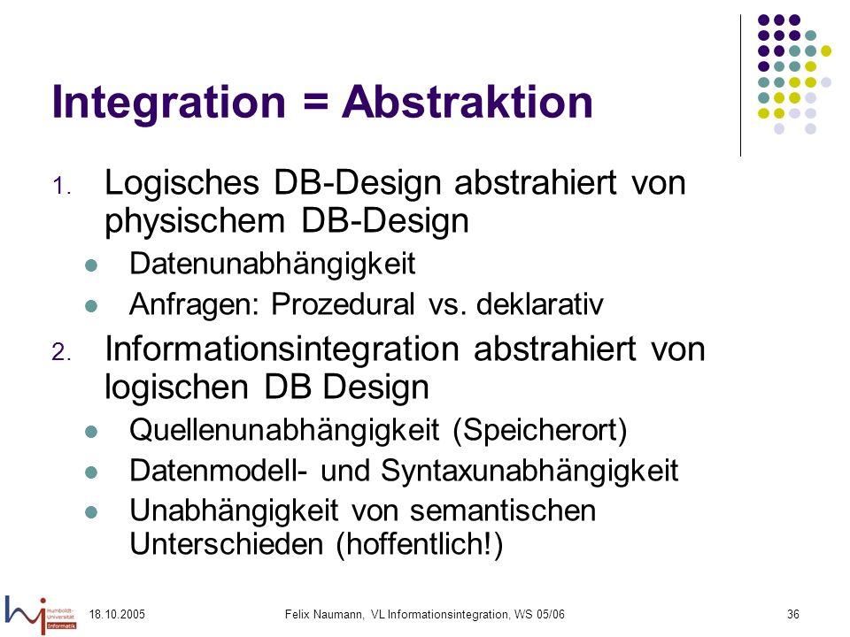 18.10.2005Felix Naumann, VL Informationsintegration, WS 05/0636 Integration = Abstraktion 1. Logisches DB-Design abstrahiert von physischem DB-Design