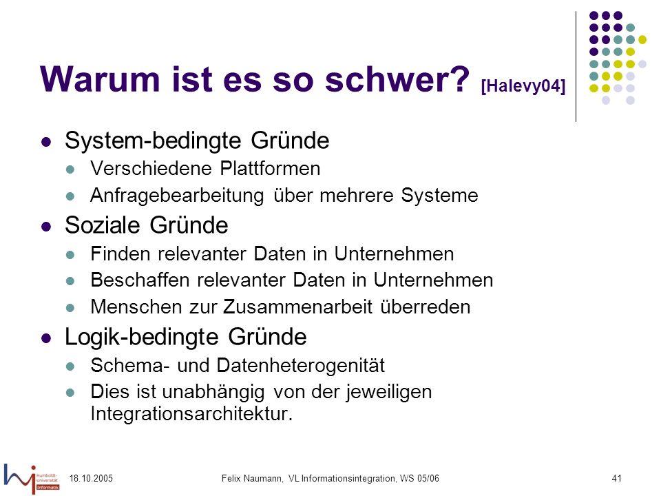 18.10.2005Felix Naumann, VL Informationsintegration, WS 05/0641 Warum ist es so schwer? [Halevy04] System-bedingte Gründe Verschiedene Plattformen Anf