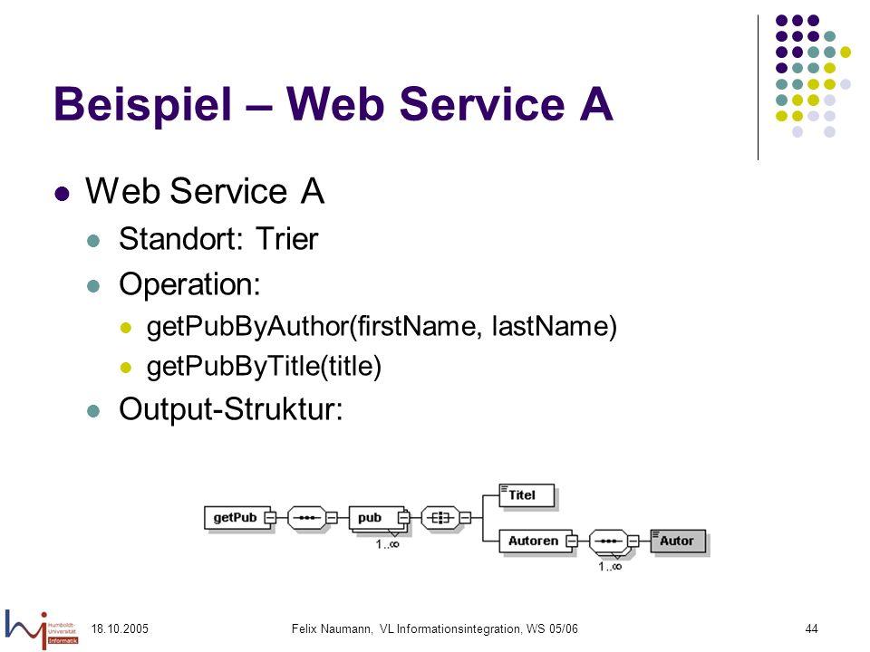 18.10.2005Felix Naumann, VL Informationsintegration, WS 05/0644 Beispiel – Web Service A Web Service A Standort: Trier Operation: getPubByAuthor(first