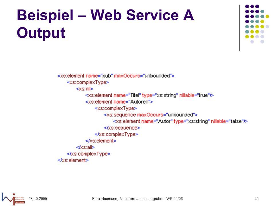 18.10.2005Felix Naumann, VL Informationsintegration, WS 05/0645 Beispiel – Web Service A Output