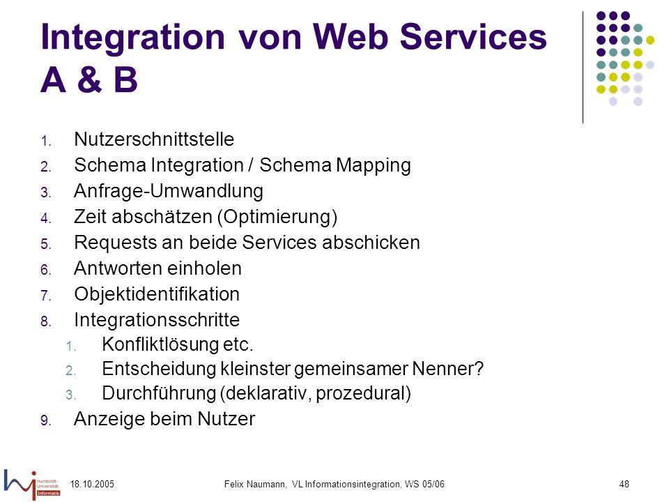 18.10.2005Felix Naumann, VL Informationsintegration, WS 05/0648 Integration von Web Services A & B 1. Nutzerschnittstelle 2. Schema Integration / Sche
