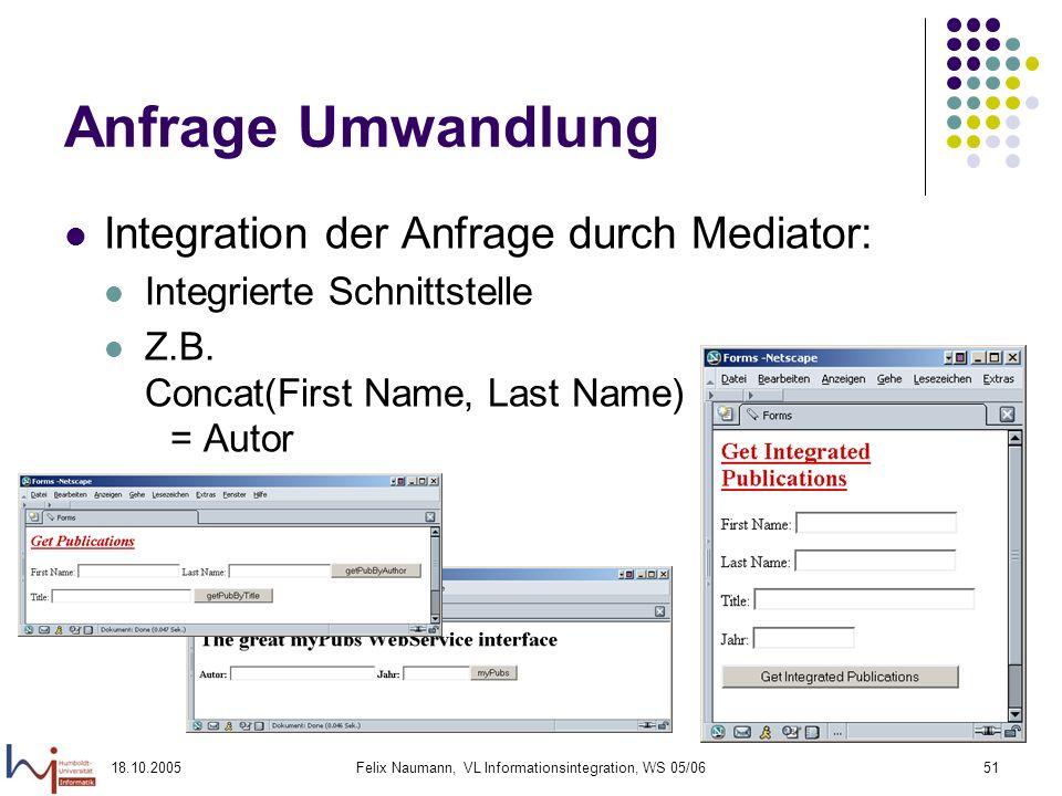 18.10.2005Felix Naumann, VL Informationsintegration, WS 05/0651 Anfrage Umwandlung Integration der Anfrage durch Mediator: Integrierte Schnittstelle Z