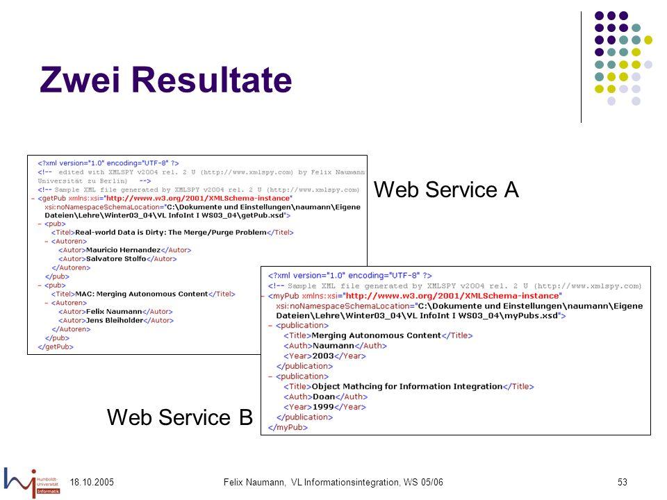 18.10.2005Felix Naumann, VL Informationsintegration, WS 05/0653 Zwei Resultate Web Service A Web Service B