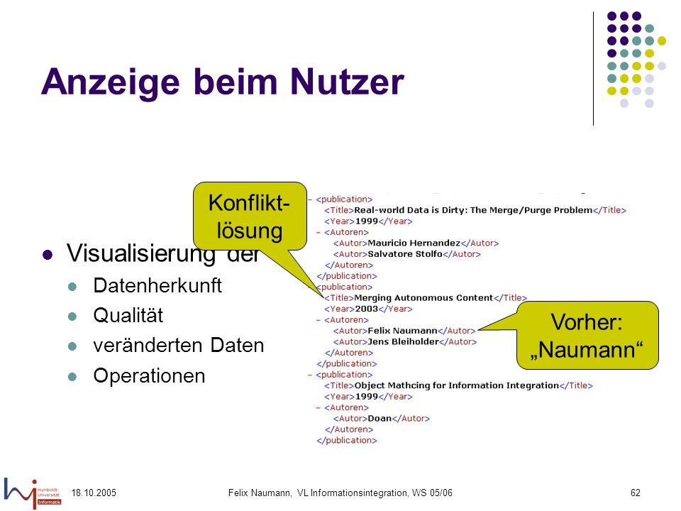 18.10.2005Felix Naumann, VL Informationsintegration, WS 05/0662 Anzeige beim Nutzer Visualisierung der Datenherkunft Qualität veränderten Daten Operat