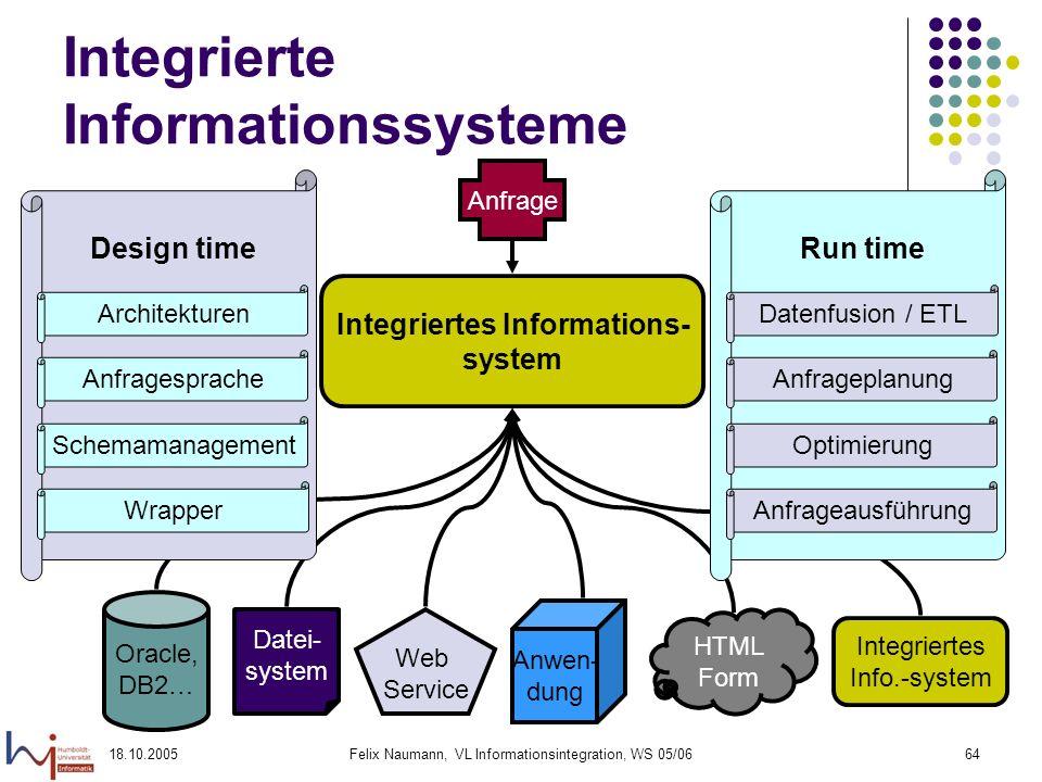18.10.2005Felix Naumann, VL Informationsintegration, WS 05/0664 Integrierte Informationssysteme Integriertes Informations- system Oracle, DB2… Design