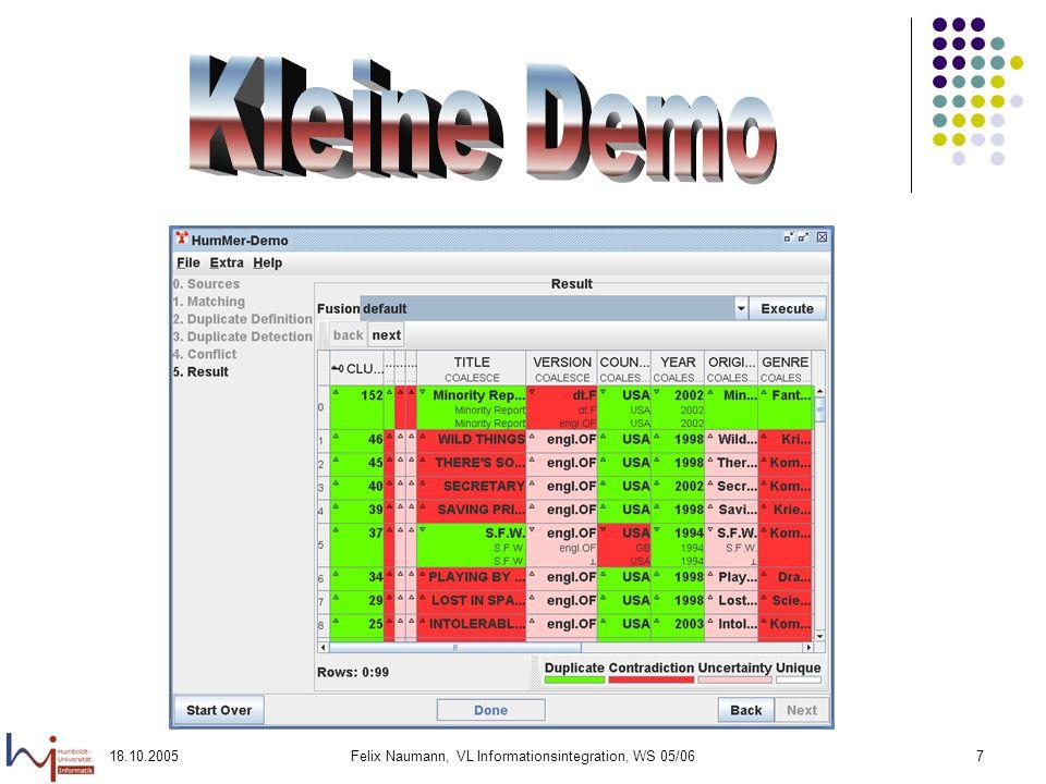 18.10.2005Felix Naumann, VL Informationsintegration, WS 05/068 Laufende Studien- und Diplomarbeiten Diplomarbeiten Entwicklung einer Testumgebung für ein Peer Data Management System Entwurf eines Peer Data Management Systems mit Steuerungs- und Simulationskomponente Datentransformation mittels Schema Mapping Tree-Edit Distance für XML Duplikaterkennung Studienarbeiten Transformation von DB2 Datenbanken in XML Dokumente mittels SQL/XML Similar Pattern Search in History Data Minimum Union als DB2 table function