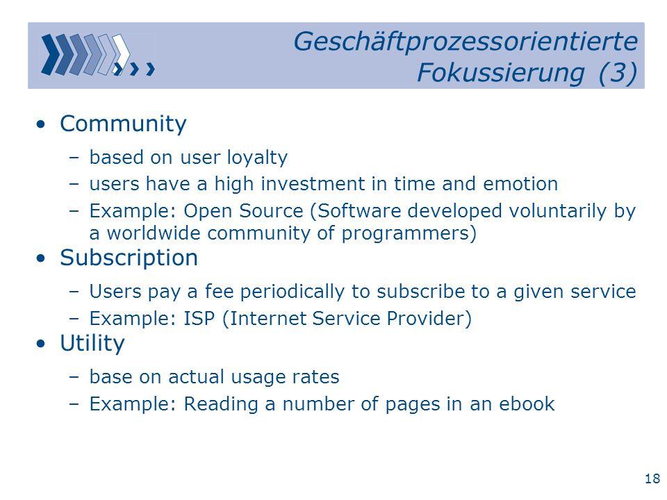 17 Geschäftprozessorientierte Fokussierung (2) Merchant –Wholesalers and retailers of goods and services.