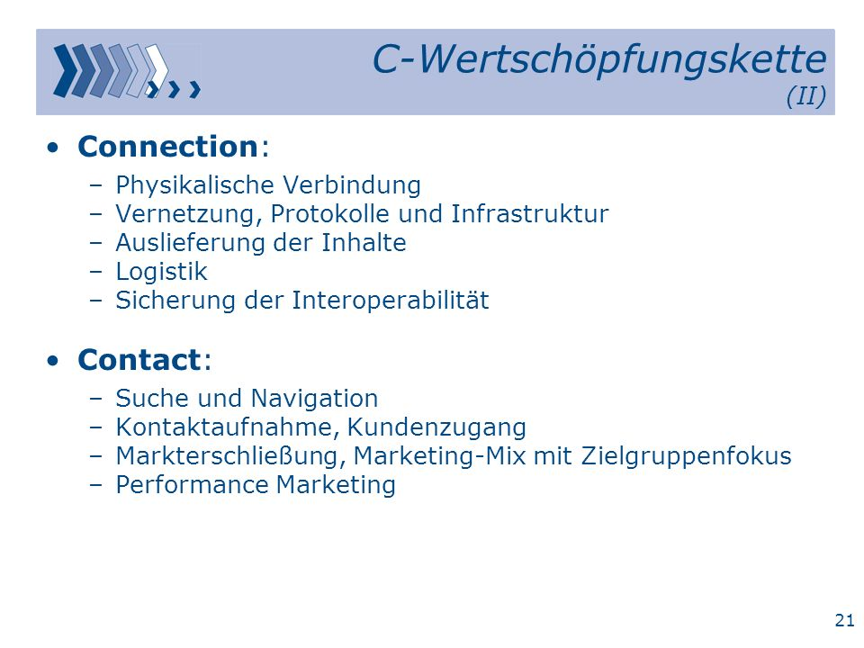 20 C-Wertschöpfungskette (I) Customer Customer Service Commerce Content Community ContextContact Conduction Connection