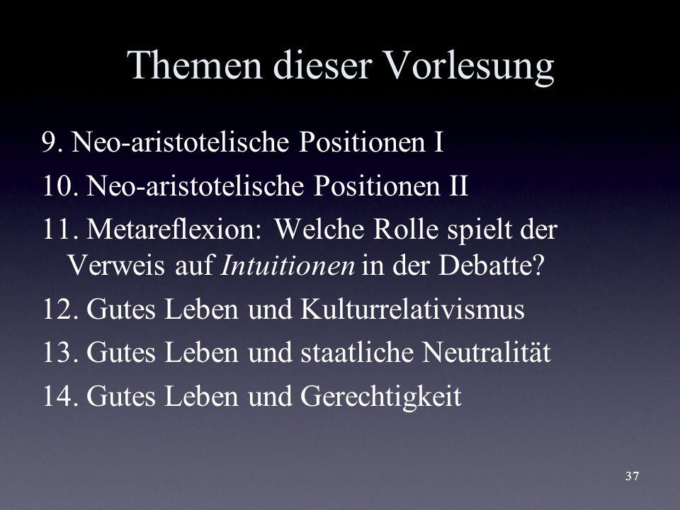37 Themen dieser Vorlesung 9. Neo-aristotelische Positionen I 10. Neo-aristotelische Positionen II 11. Metareflexion: Welche Rolle spielt der Verweis