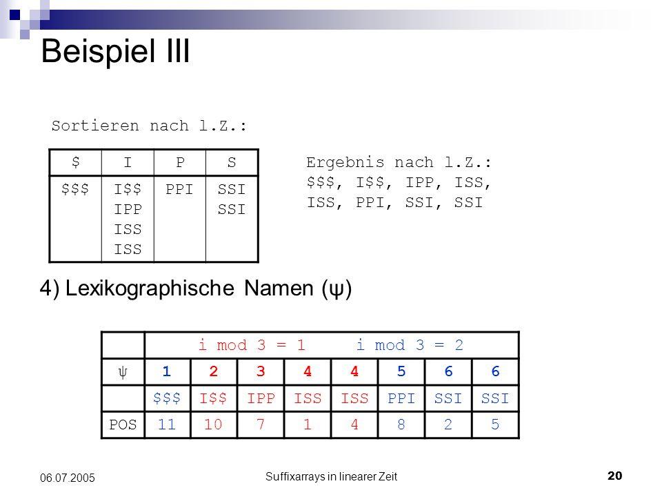 Suffixarrays in linearer Zeit20 06.07.2005 Beispiel III 4) Lexikographische Namen (ψ) $IPS $$$I$$ IPP ISS ISS PPISSI Ergebnis nach l.Z.: $$$, I$$, IPP