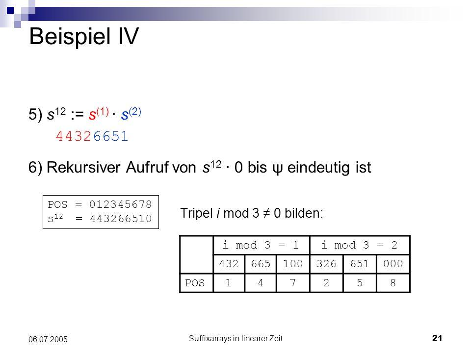 Suffixarrays in linearer Zeit21 06.07.2005 Beispiel IV 5) s 12 := s (1) · s (2) 6) Rekursiver Aufruf von s 12 · 0 bis ψ eindeutig ist Tripel i mod 3 0
