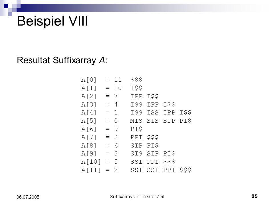 Suffixarrays in linearer Zeit25 06.07.2005 Beispiel VIII Resultat Suffixarray A: A[0] = 11 $$$ A[1] = 10 I$$ A[2] = 7 IPP I$$ A[3] = 4 ISS IPP I$$ A[4