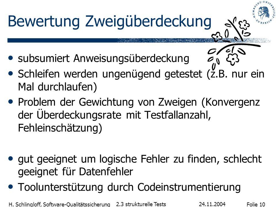 Folie 10 H. Schlingloff, Software-Qualitätssicherung 24.11.2004 2.3 strukturelle Tests Bewertung Zweigüberdeckung subsumiert Anweisungsüberdeckung Sch