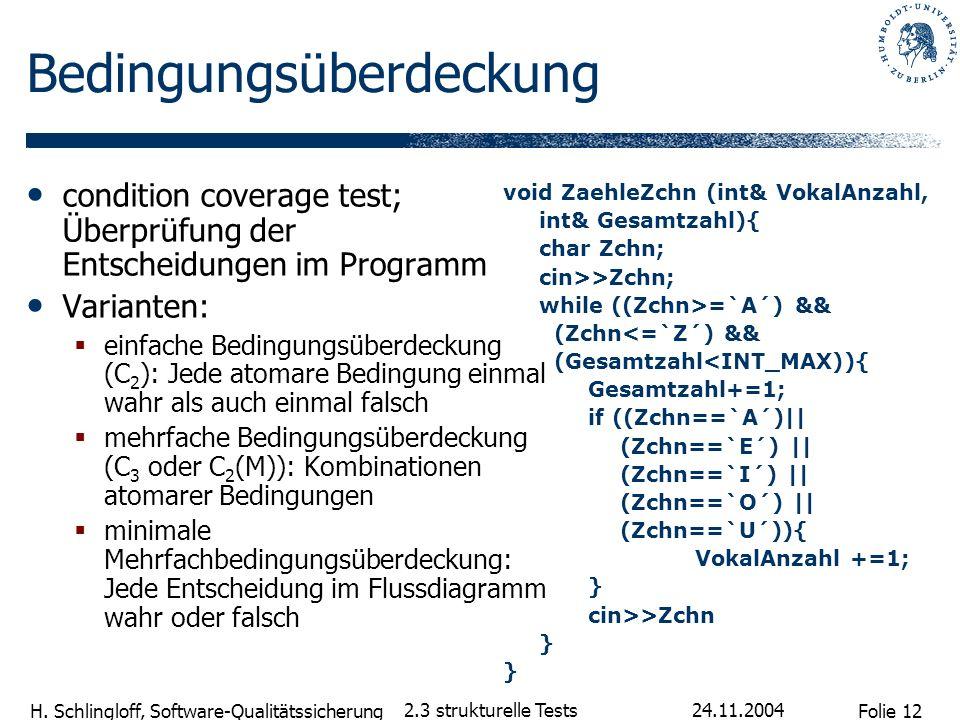 Folie 12 H. Schlingloff, Software-Qualitätssicherung 24.11.2004 2.3 strukturelle Tests Bedingungsüberdeckung condition coverage test; Überprüfung der