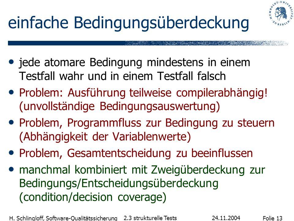 Folie 13 H. Schlingloff, Software-Qualitätssicherung 24.11.2004 2.3 strukturelle Tests einfache Bedingungsüberdeckung jede atomare Bedingung mindesten