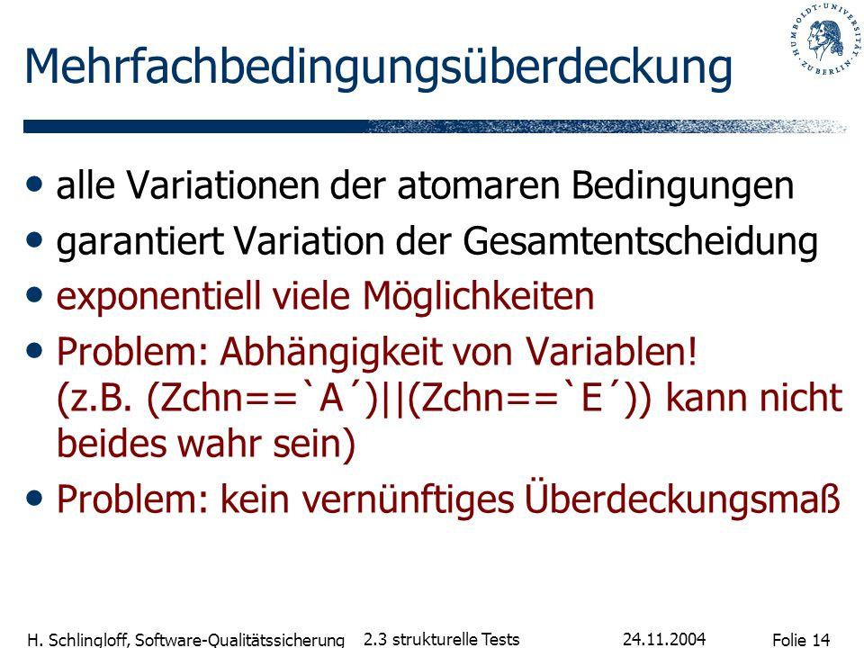 Folie 14 H. Schlingloff, Software-Qualitätssicherung 24.11.2004 2.3 strukturelle Tests Mehrfachbedingungsüberdeckung alle Variationen der atomaren Bed