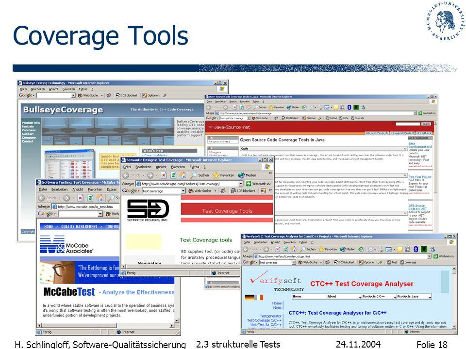 Folie 18 H. Schlingloff, Software-Qualitätssicherung 24.11.2004 2.3 strukturelle Tests Coverage Tools