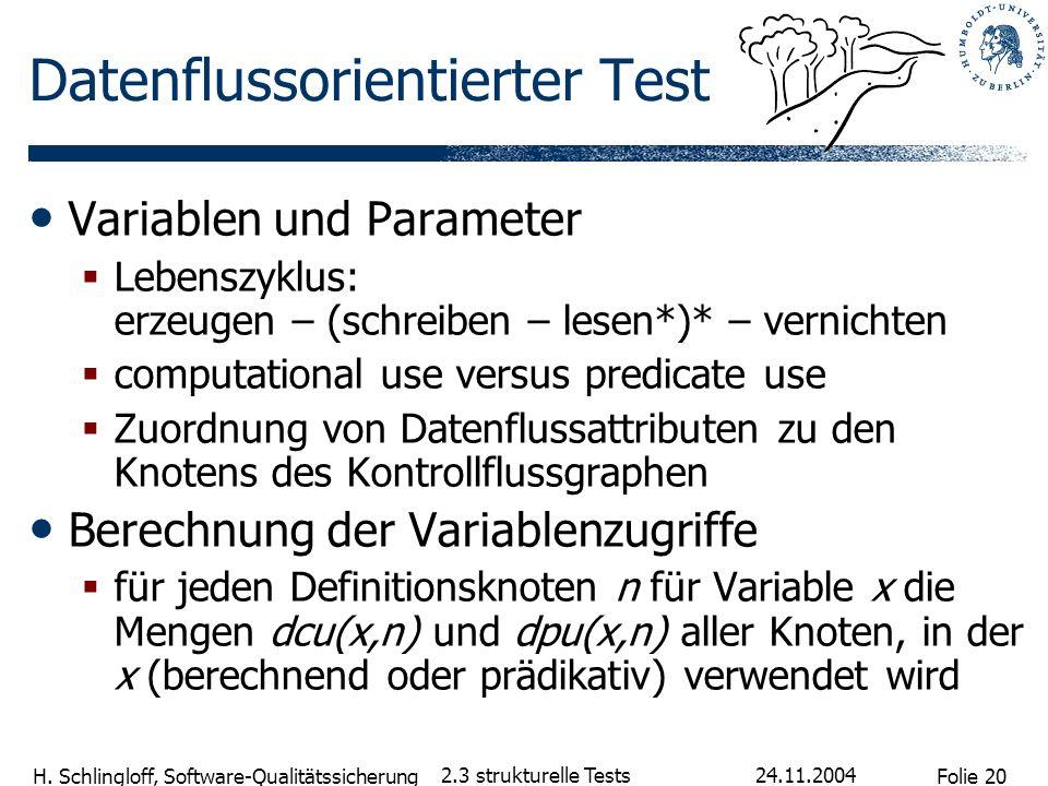 Folie 20 H. Schlingloff, Software-Qualitätssicherung 24.11.2004 2.3 strukturelle Tests Datenflussorientierter Test Variablen und Parameter Lebenszyklu