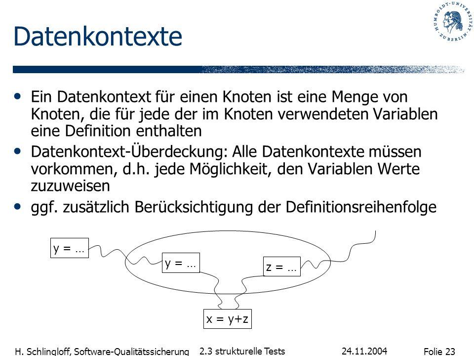 Folie 23 H. Schlingloff, Software-Qualitätssicherung 24.11.2004 2.3 strukturelle Tests Datenkontexte Ein Datenkontext für einen Knoten ist eine Menge