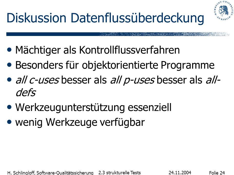 Folie 24 H. Schlingloff, Software-Qualitätssicherung 24.11.2004 2.3 strukturelle Tests Diskussion Datenflussüberdeckung Mächtiger als Kontrollflussver