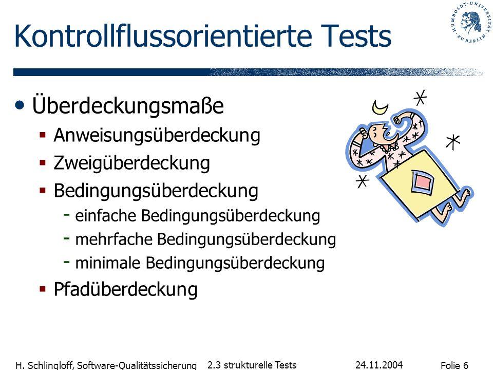 Folie 6 H. Schlingloff, Software-Qualitätssicherung 24.11.2004 2.3 strukturelle Tests Kontrollflussorientierte Tests Überdeckungsmaße Anweisungsüberde