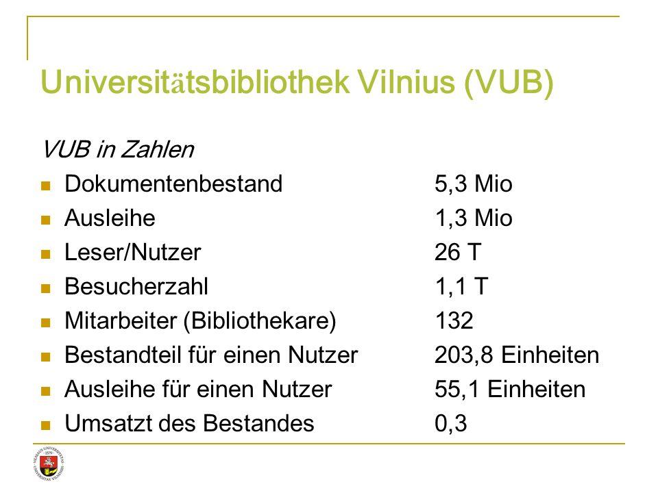Universit ä tsbibliothek Vilnius (VUB) VUB in Zahlen Dokumentenbestand5,3 Mio Ausleihe1,3 Mio Leser/Nutzer26 T Besucherzahl1,1 T Mitarbeiter (Biblioth