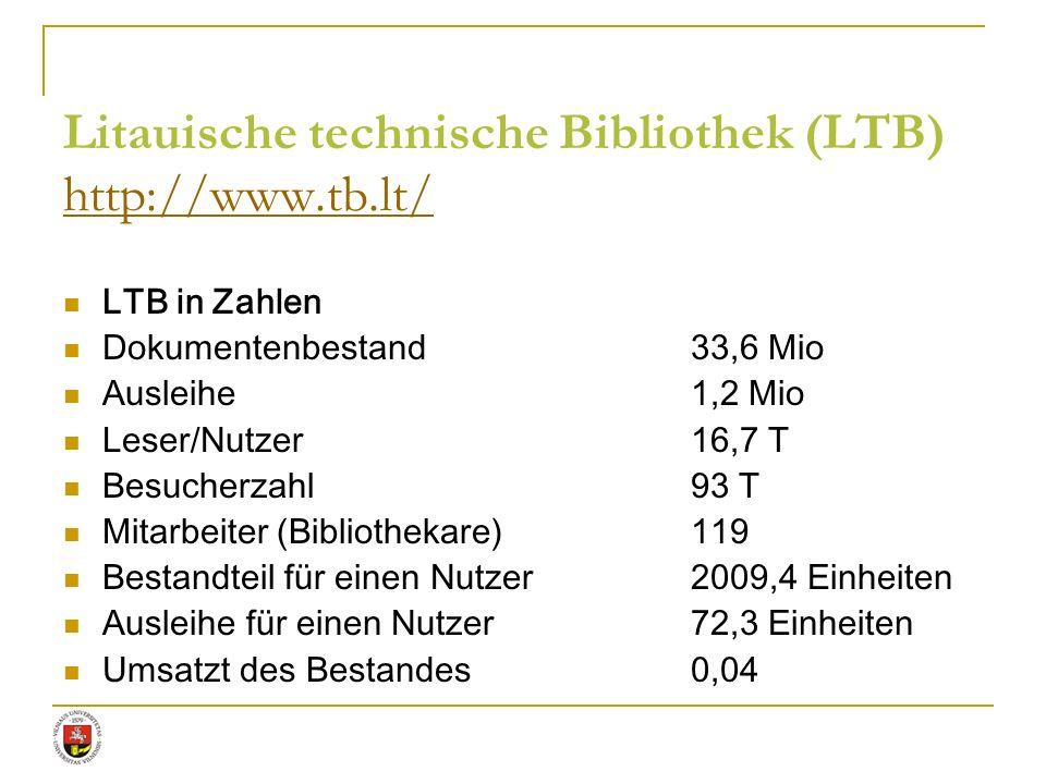 Litauische technische Bibliothek (LTB) http://www.tb.lt/ http://www.tb.lt/ LTB in Zahlen Dokumentenbestand33,6 Mio Ausleihe1,2 Mio Leser/Nutzer16,7 T