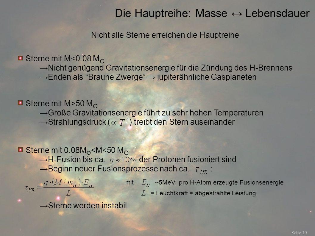Die Hauptreihe: Masse Lebensdauer Seite 10 Nicht alle Sterne erreichen die Hauptreihe Sterne mit M<0.08 M O Nicht genügend Gravitationsenergie für die