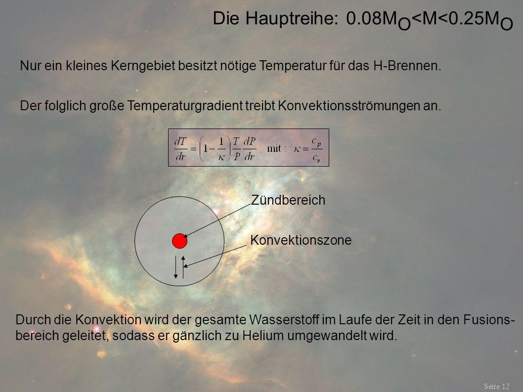 Die Hauptreihe: 0.08M O <M<0.25M O Seite 12 Nur ein kleines Kerngebiet besitzt nötige Temperatur für das H-Brennen. Der folglich große Temperaturgradi