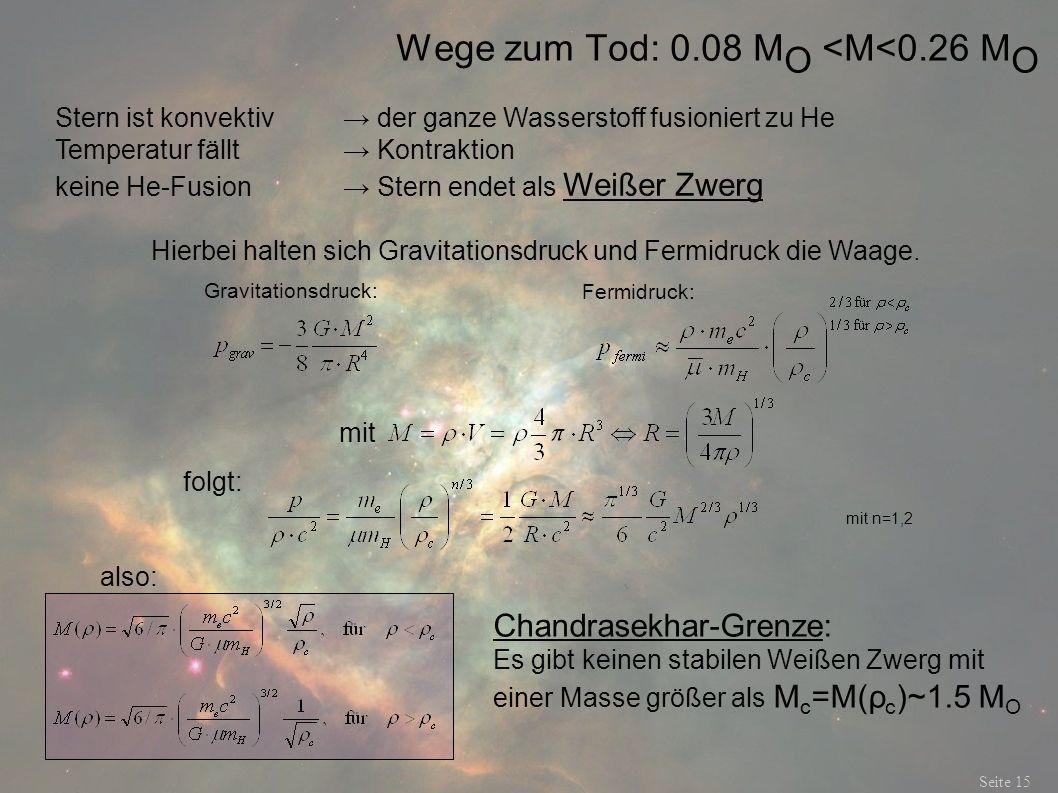 Wege zum Tod: 0.08 M O <M<0.26 M O Seite 15 Chandrasekhar-Grenze: Es gibt keinen stabilen Weißen Zwerg mit einer Masse größer als M c =M(ρ c )~1.5 M O
