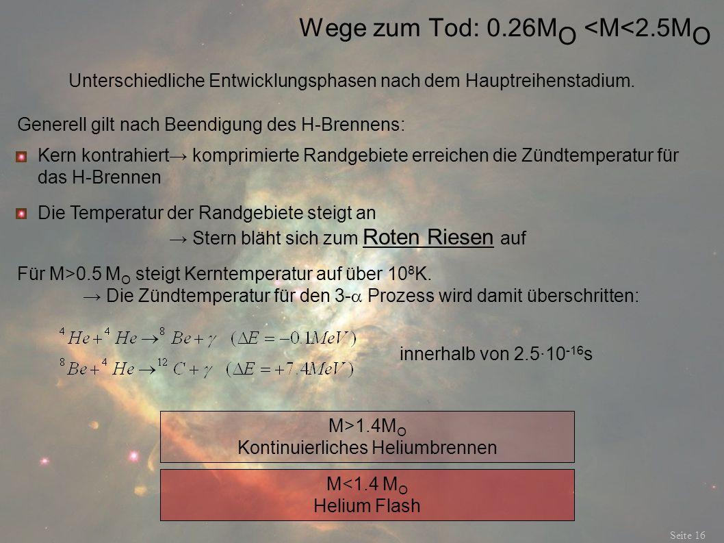Wege zum Tod: 0.26M O <M<2.5M O Seite 16 Unterschiedliche Entwicklungsphasen nach dem Hauptreihenstadium. Generell gilt nach Beendigung des H-Brennens