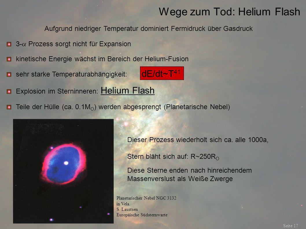 Wege zum Tod: Helium Flash Seite 17 Aufgrund niedriger Temperatur dominiert Fermidruck über Gasdruck 3- Prozess sorgt nicht für Expansion sehr starke